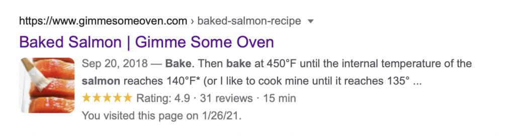 salmon recipe in search
